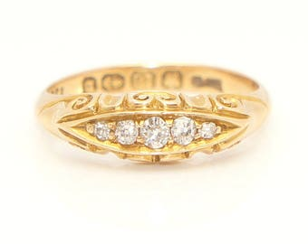 Antique 1876 Victorian 18ct Gold Five Stone Diamond Boat Ring, Size J1/2, 3g