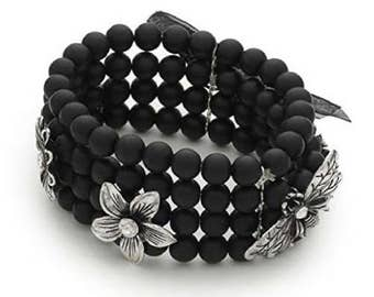 Liberty Charms Designer Inspired 'Midnight Fleur' Black & Silver Diamante Flower and Dragonfly Stretch Bracelet
