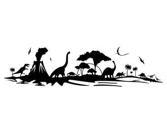 Dinosaurs landscape Graphics SVG Dxf EPS Png Cdr Ai Pdf Vector Art Clipart instant download Digital Cut Print File Cricut Silhouette Decal