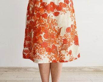 Embroidered midi skirt, floral print, Vintage