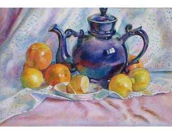Watercolor painting, Still-life with fruit, kitchen still life, Still life with lemons, still life with oranges, blue ceramics, 30x40cm