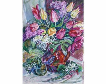 Watercolor  tulips,  a kitchen still life, Watercolor flowers, tulips and lilacs, a bouquet in a vase, pink flowers, white flowers