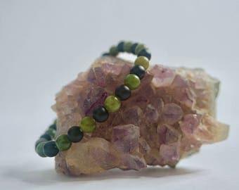 Healing Crystal Bracelet: Jade & Black Obsidian