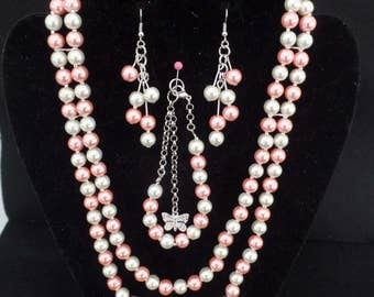 Handmade Pink and White Pearl Like Necklace, Bracelet and Earings