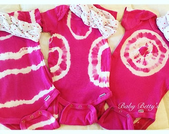 Baby girls tie dyed onesie, size 12 months, pink and white with matching headband