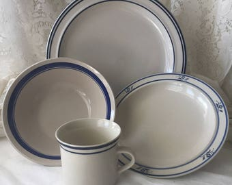 4 Pc Set - Mix and Match Brick Oven/Stoneware Dinnerware Set - Blue and Beige - Lot of 3