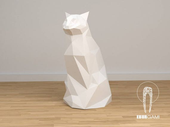 3d papercraft cat 3d pdf template papercraft animals - Applique murale papier ...