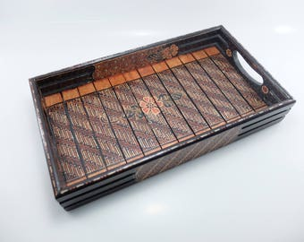 Batik Wooden Tray traditional Indonesia