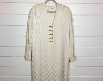 Vintage 1980s Pauline Trigere Silk Shift Dress / Neiman Marcus / Gold Buttons / V Neck / Designer
