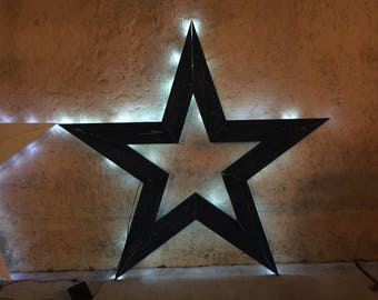 Solar Powered Star | Rustic Star | Wooden Star | Wood Star | Outdoor Indoor Decor