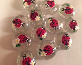 Hand Painted Glass Gems 12 Ladybug