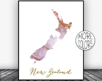 New Zealand Art Print  New Zealand Map Art Wall Prints Wall Art Home Wall Decor Living Room Decor ArtPrintsZoe Christmas Gifts