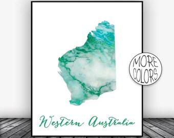 Western Australia Art Print, Home Decor, Western Australia Map Art, Wall Prints, Wall Art Home Wall Decor Living Room Decor, ArtPrintsZoe