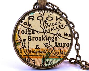 Brookings, South Dakota Map Pendant Necklace - Created from a vintage map published in 1927.