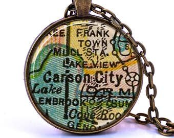 Carson City, Nevada Map Pendant Necklace - Created from a vintage map published in 1927.