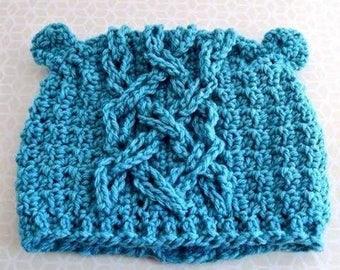 Handmade Crochet Hat – Childrens Winter beanie - Kids bobble hat - hat with ears - baby shower gift