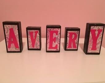 Custom Wood Name Blocks - Pink & Red