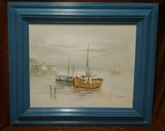 Large Vintage Boat Painting