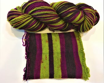 Hand-dyed Self Striping yarn - extra wild thang - super wash wool sock yarn