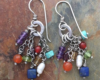 Boho Earrings | Cluster Earrings. Dangle Earrings with Colorful Gemstone Beads