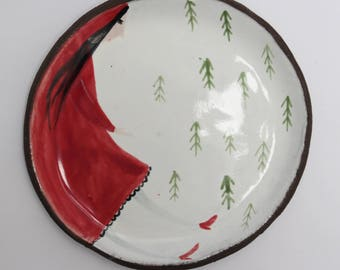 Little Red Riding Hood - ceramic plate, spoon rest