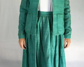 Vintage Raw Silk Pleated Skirt and Jacket