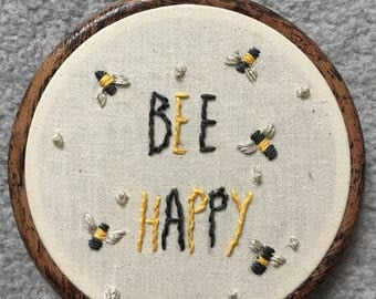 Bee happy embroidery