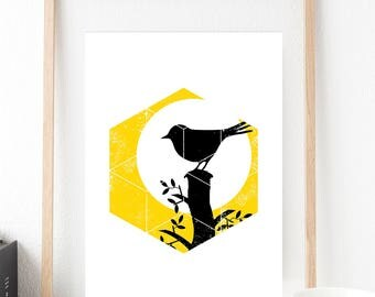 Geometric Bird Print Yellow,Printable,Digital Print,Nursery,Wall Art,Geometric,living room,Children's Bedroom, A4 size,Download