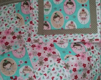 Baby cover, baby quilt, patchwork, baby blanket, matching cushion cover,  nursery