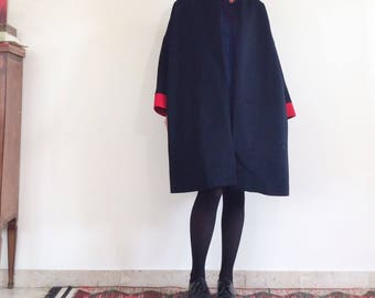 Vintage kimono cut coat soft pure wool 80 years 50s style red blue