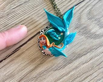 Blue Mermaid with medusa, mermaid, Mermaid swimming fimo necklace