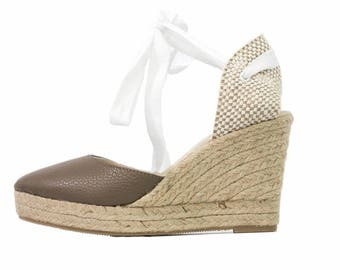Wedge Brown textured-leather espadrilles made in Spain