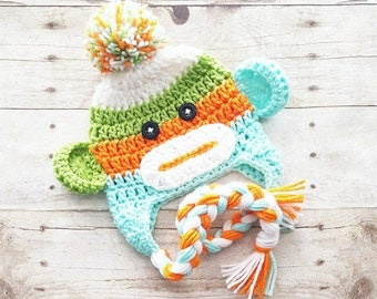 Crochet Sock Monkey Beanie Hat Newborn Baby Infant Toddler Child Adult Handmade Photography Photo Prop Baby Shower Gift
