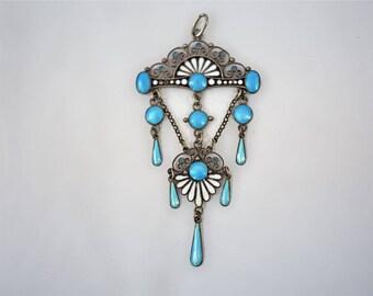 "Art Nouveau Enamel Pendant by Famous Swedish Jeweller ""Hammer"""