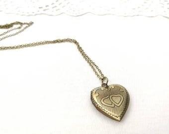 Love heart locket, antique brass necklace, keepsake photo locket