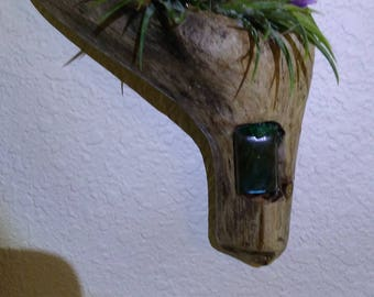 One of a kind air plant driftwood and precious gemstones