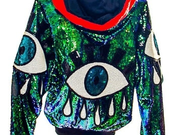 Iridescent sequinned mermaid festival eye jacket