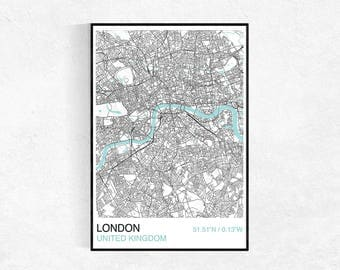 London City Map Poster, Custom Map Print, City Map, Large Poster, Wall Art, Street Map, Travel Poster, London Map Print