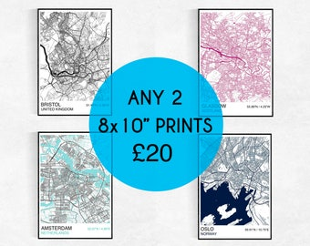 TWO 8x10 City Map Prints, Custom City Map Prints, Street Map, Personalized, Wedding, Birthday, Housewarming Gift, Graduation, Map Wall Art