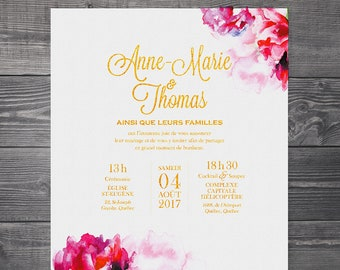 Wedding invitation, digital announcement - Flowers, watercolor, modern, pink, romantic, gold, gilding