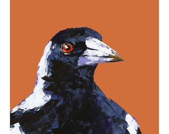 Magpie print, two styles, bird art print, black and white on orange, palette knife oil, fine art, wall print, home decor