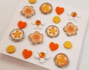 Orange Floral Decorative Brads Split Pins Embellishment Craft