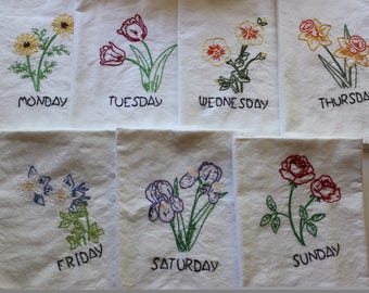 Hand Embroidered Tea Towels (Set of 7) Days of the Week Flowers