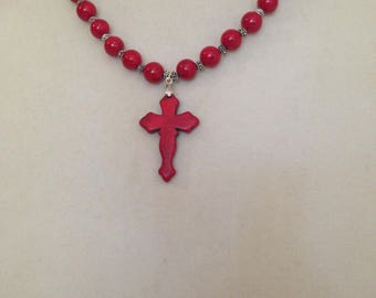 Handcrafted Red Turquoise cross necklace plus free gift