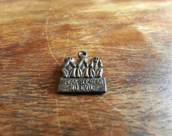 Vintage 90's Small See Speak Hear No Evil Sterling Silver Charm