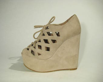 Leather TOP SHOP Women's High Heel Platform Suede Spanish Size 6,5us/4uk/37eu