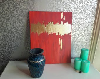 Abstract canvas with gold leaf, wall art, home decor