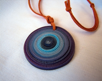 Pendant necklace from Fimo - purple