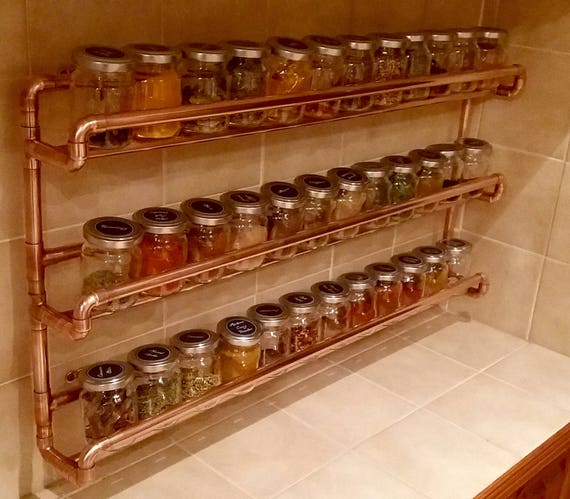 Copper Pipe Spice Rack Soldered Not Glued Wall Mounted