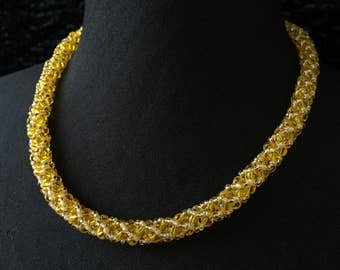 Necklace beads glass - golden yellow